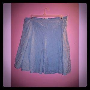 Knee Length Embroidered Blue Skirt